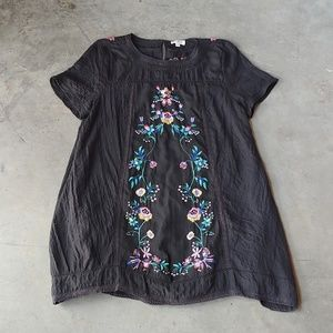 Umgee Black Floral Embroidered Swing Dress large